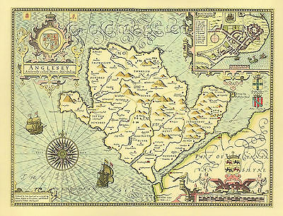 Anglesey Replica 17c. John Speed Old Map Hand Coloured UNIQUE Retirement GIFT
