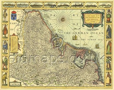 BENELUX Netherlands Mounted & Framed Gicleé PRINTED  Replica 17c. Speed Old Map