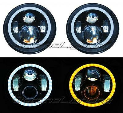 """7"""" PROJECTOR HID 6500K LED DAYMAKER WHITE AMBER HALO HEADLIGHT LIGHT BULBS PAIR"""
