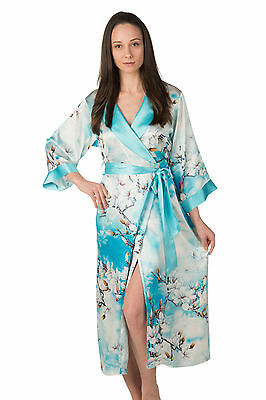 100% Silk, Women's Long Robe/wrap with Shawl Collar - Dreamy Magnolia