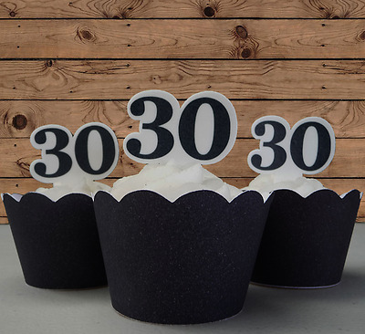 30th Birthday edible cupcake cake toppers wafer black anniversary