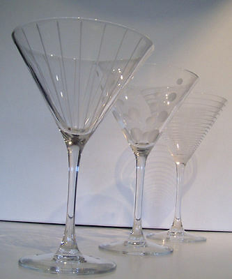 """MIKASA CRYSTAL """"CHEERS"""" ETCHED MARTINI STEMWARE GLASSES...SET OF 3"""
