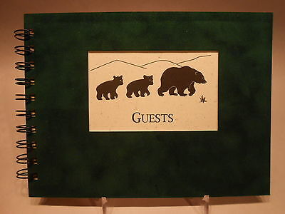 Rustic Lodge Sueded Cover CABIN GUEST BOOK with Black Bear Pattern