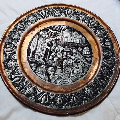 Antique Vintage Persian Wall Plate Pewter/Tin over Copper Etching Ghalam-Zani