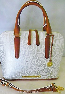 BRAHMIN VIVIAN  LYON COLLECTION  LEATHER WHITE FLORAL SATCHEL BAG NEW WITH TAG