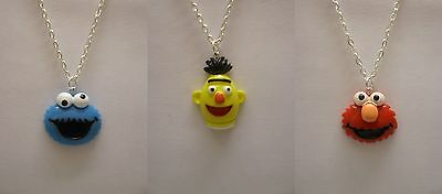 "Sesame Street Cookie Monster or Elmo or Bert 18"" Silver Plated Necklace"