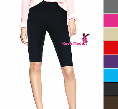 Womens Stretch Biker Bike Shorts Workout Spandex Leggings Knee Length XS S M L