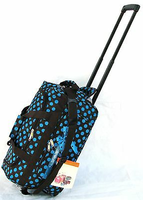 "20"" 40LB.DARK BROWN W/BLUE POLKA DOT ROLLING WHEELED DUFFLE BAG LUGGAGE CARRY ON"