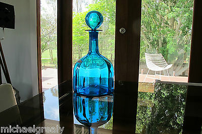 BLUE Blenko Decanter in MIDDLE. TWO LABELS. 1960's USA. Genie bottle. Retro
