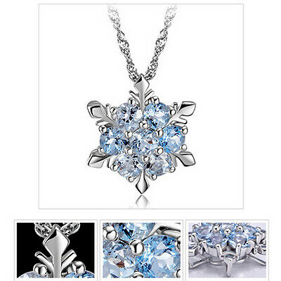 925 Sterling Silver Light Blue Crystal rhinestone SNOWFLAKE PENDANT NECKLACE