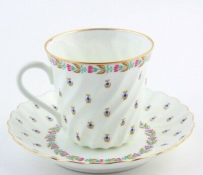 Russian IMPERIAL Lomonosov porcelain coffee / tea cup and saucer Blueberries