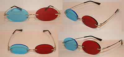 Blue and Red 3D Lens Cosplay Costume Glasses - Medium