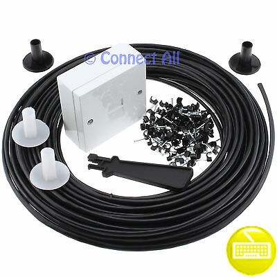 10M Black Bt Telephone Adsl Broadband External Extension Cable Lead Kit Cw1308