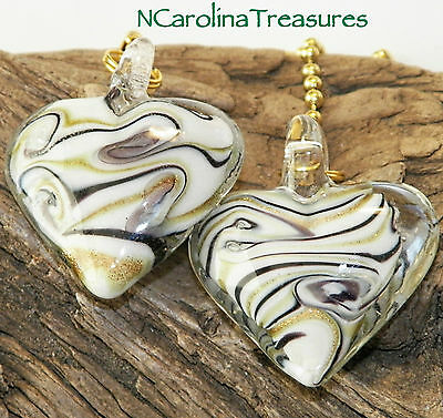 Murano Glass Ceiling Fan Switch Pull Black Gold Stripe Heart Hearts Large Pair