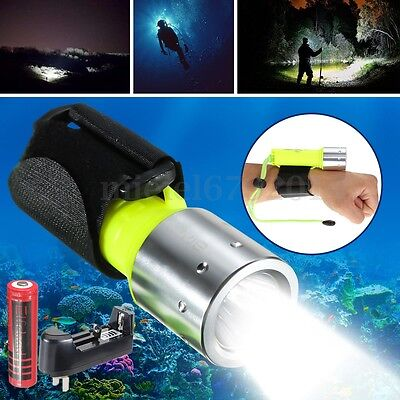 10000LM Diving Torch T6 LED Scuba Flashlight Underwater 60M+Battery+ Charger