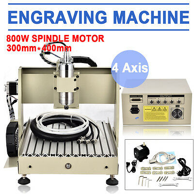 CNC 3040 ROUTER 4 AXIS MILLING METALENGRAVER SPINDLEMOTOR VFD 800W