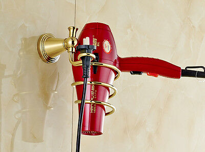 Gold Polished Hair Drier Holder Bracket Wall Mounted