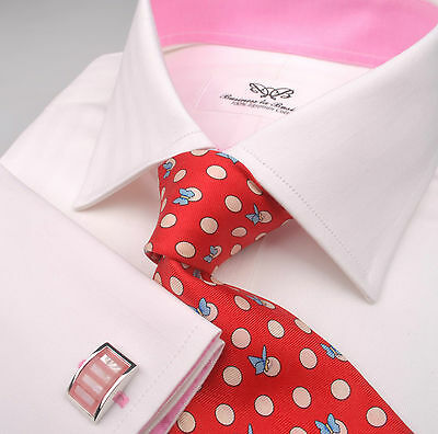 Mens Business Shirt White Herringbone 2 Fold Egyptian Cotton French Double Cuffs