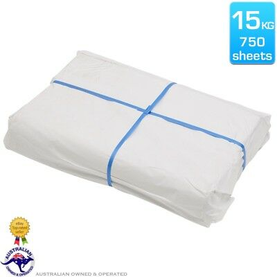 15kg Wrapping Packing Paper 600mm x 810mm White Butchers 750 Sheets Food Safe