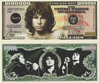 RARE: Jim Morrison $1,000,000 Novelty Note, Music. Buy 5 Get one FREE