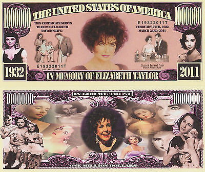 RARE: Elizabeth Taylor $1,000,000 Novelty Note, Movies Buy 5 Get one FREE