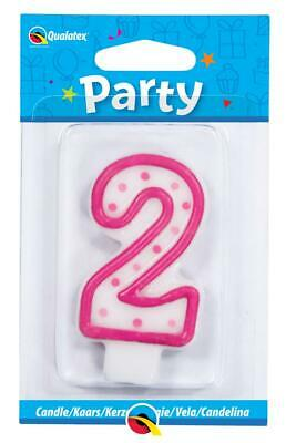 Pink Polka Dots Number Shaped Candle - Ages 0-9 Under 1 Listing