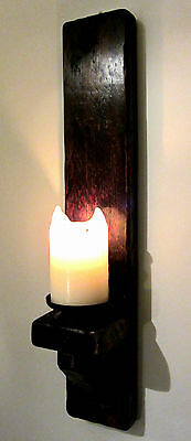 Large 60Cm Rustic Solid Wood Dark Wax Shabby Chic Wall Sconce Candle Holder