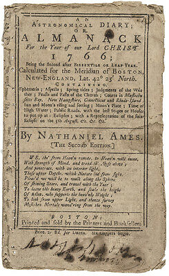1766 Nathaniel Ames Boston Almanac with PAUL REVERE Eclipse Woodcut Engraving