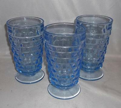 INDIANA GLASS COMPANY WHITEHALL FOOTED WATER GLASS TUMBLER BLUE