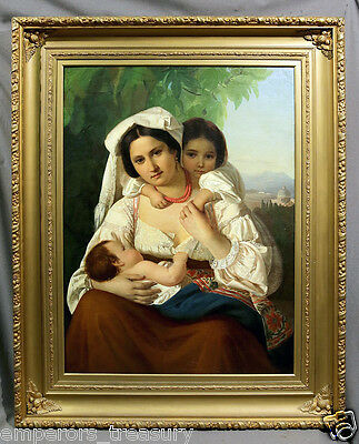 Italian/European School Oil Painting Mother and Children signed Hermine Borchard