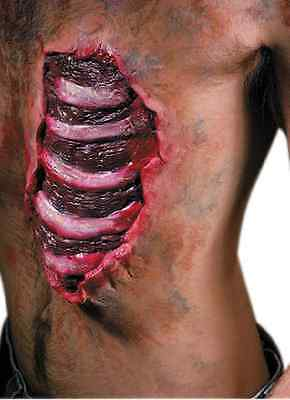 Spare Ribs Chest Wound Zombie Dress Up Halloween Costume Makeup Latex Prosthetic