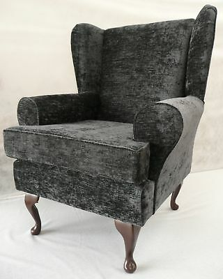 Fireside Chair/ Armchair/ Wing Chair Grey Chenille Fabric