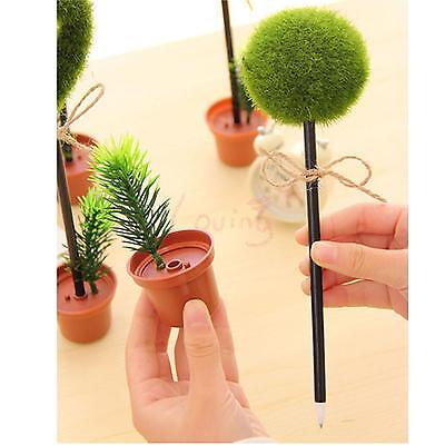 2 In 1 Eco-friendly Grass Flower Pot Writing Pen Desktop Decorating Stationery