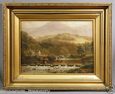 19th Century Oil Painting of Woman in Mountain Landscape Crossing River