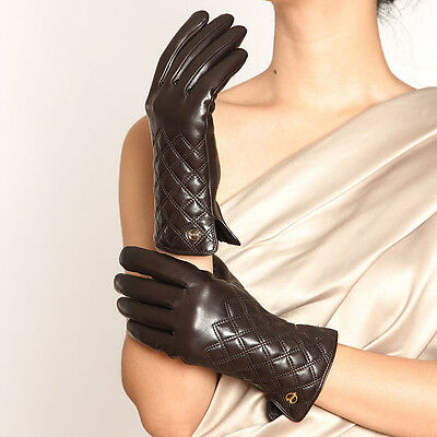 Womens Genuine Nappa Leather Thinsulate Warm Lined Gloves 3 Color On Sale #E026