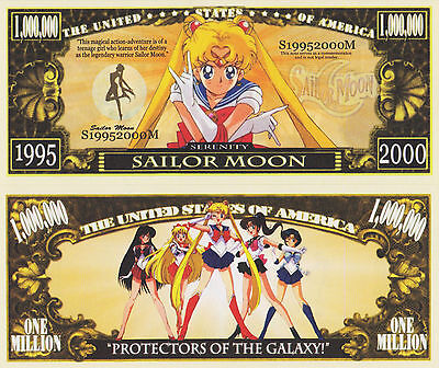 RARE: Sailor Moon $1,000,000 Novelty Note, TV Shows/Cartoons Buy 5 Get one FREE