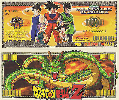 RARE: DragonballZ $1,000,000 Novelty Note, TV Shows/Cartoons Buy 5 Get one FREE