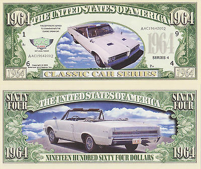 RARE: 1964 GTO $1,964.00 Novelty Note, Automobilia Buy 5 Get one FREE