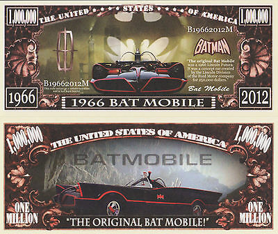 RARE: Bat Mobile $1,000,000 Novelty Note, Automobilia/Comics Buy 5 Get one FREE