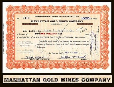 Manhattan Gold Mines Company NV 1958 Stock Certificate