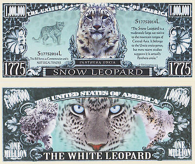 RARE: Snow Leopard $1,000,000 Novelty Note, Wild Animals Buy 5 Get one FREE