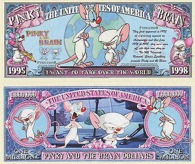 RARE: Pinky & The Brain $1,000,000 Novelty Note, Cartoons Buy 5 Get one FREE