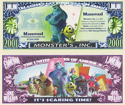 RARE: Monster's, Inc. $1,000,000 Novelty Note, Movies Buy 5 Get one FREE