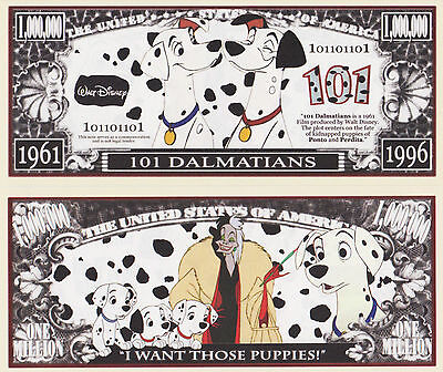 RARE: 101 Dalmatians $1,000,000 Novelty Note, Movies Buy 5 Get one FREE