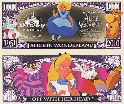 RARE: Alice In Wonderland $1,000,000 Novelty Note, Movies Buy 5 Get one FREE