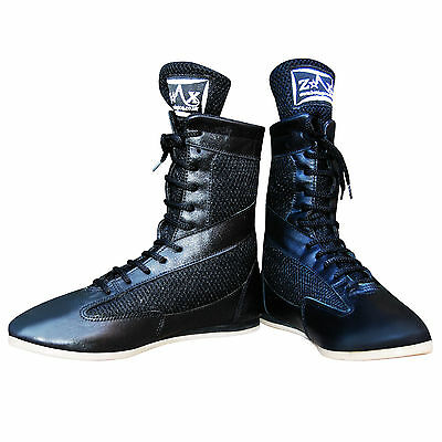 ZstarAX Boxing Boots Leather Shoes Long Anklet Light Weight Rubber Sole Boots