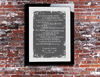 John Legend All Of Me Lyrics Print Anniversary Song Personalised Canvas Gift