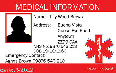 Medical Alert Card | Plastic Identity Card | In case of Emergency.