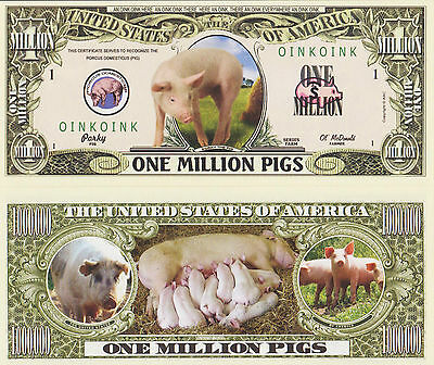 RARE: PIGS $1,000,000 Novelty Note, Wild Animals Buy 5 Get one FREE