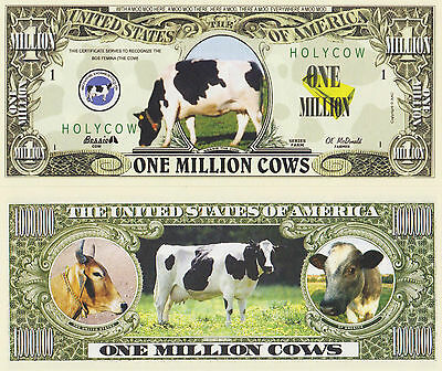 RARE: Cows $1,000,000 Novelty Note, Animals Buy 5 Get one FREE